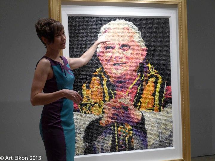 "Artist Niki Johnson with her work ""Eggs Benedict"""