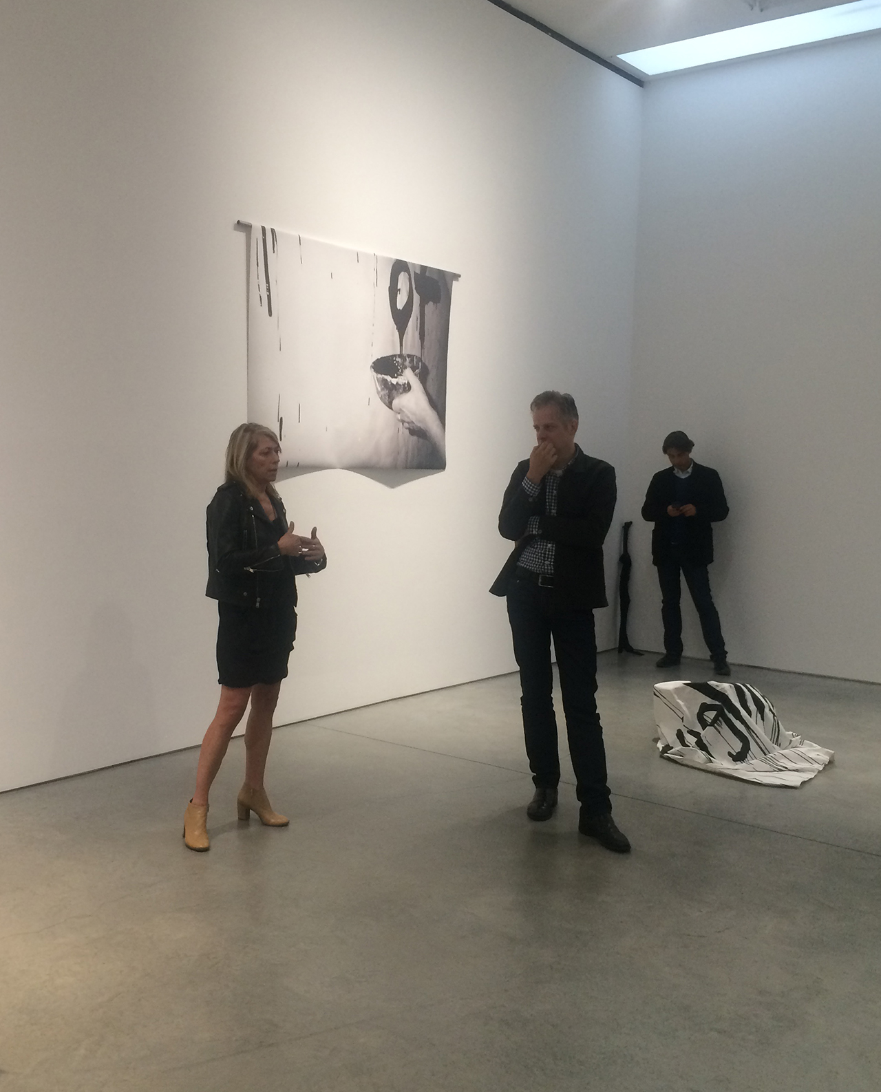 Kim Gordon discussing her work at the exhibition opening, June 4, 2015 (photo by Zack Sigel)