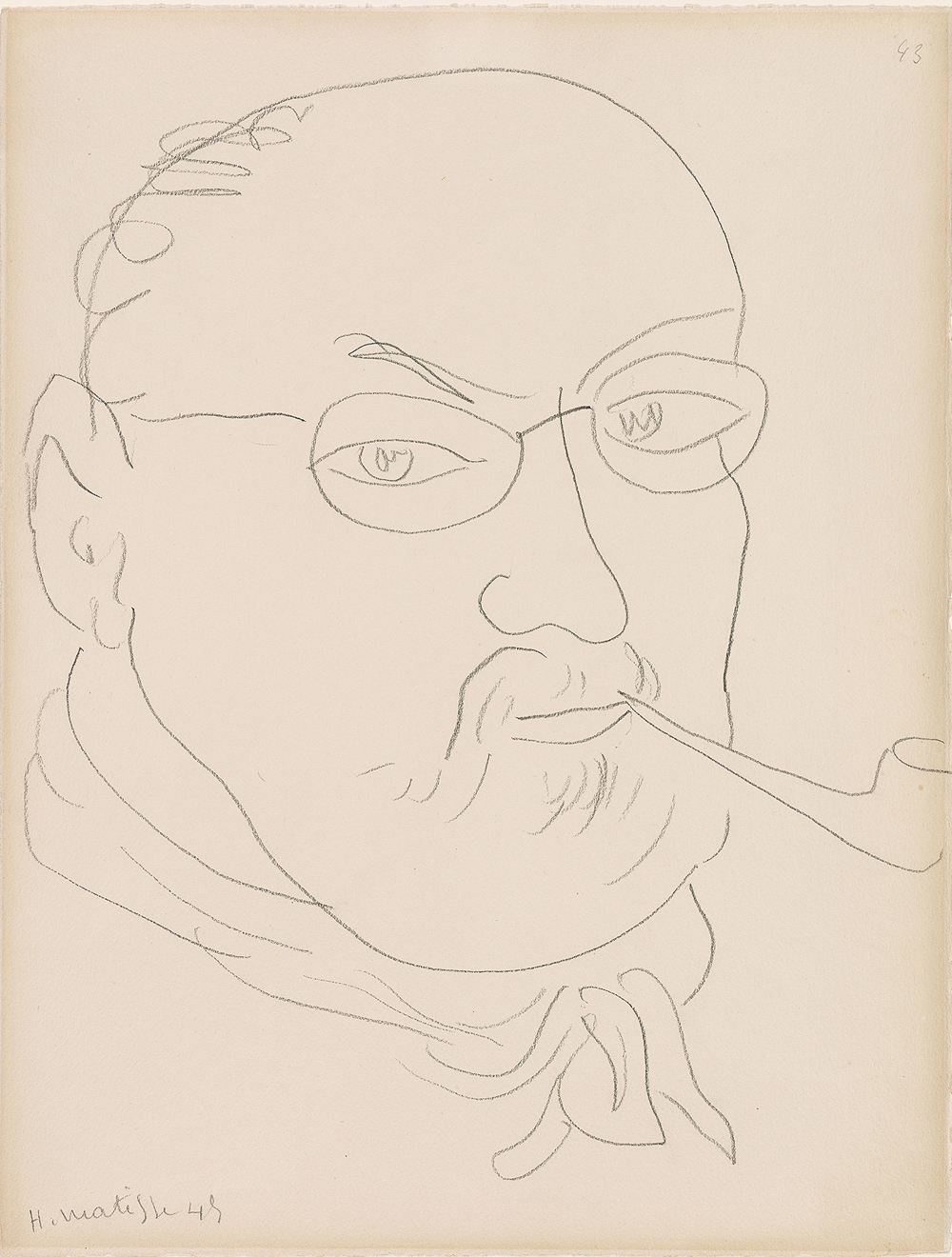 """Henri Matisse, """"Self-Portrait"""" (1945). Graphite on paper. Thaw Collection, The Morgan Library & Museum. © 2015 Succession H. Matisse / Artists Rights Society (ARS), New York."""