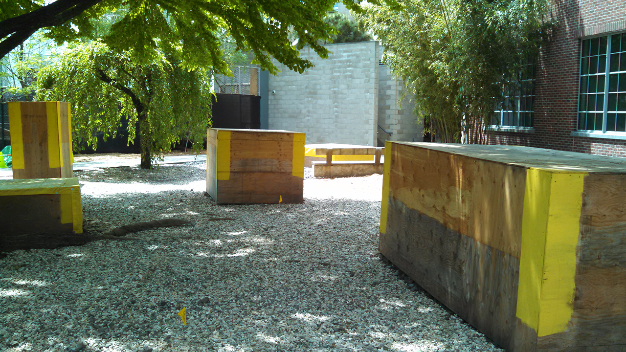 Renovations in the Noguchi Museum garden (all photos by the author for Hyperallergic)