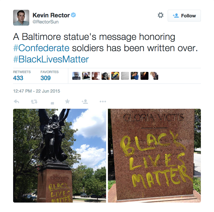 Vandals covered a statue in Baltimore with yellow paint (screenshot via @RectorSun/Twitter)