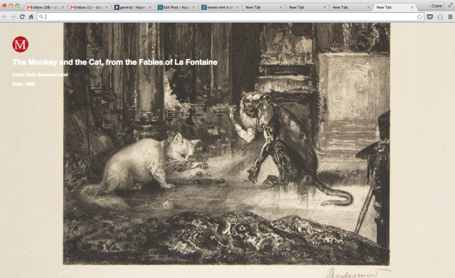 """Félix Bracquemond, """"The Monkey and the Cat, from the Fables of La Fontaine"""" (1886)"""