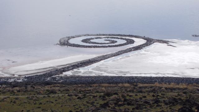"Robert Smithson, ""Spiral Jetty"" (1970) (photo via Wikipedia)"