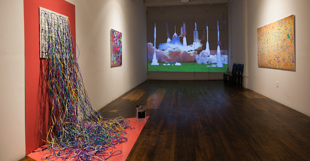 "TECHNOPHILIA installation view with ""Rockets"" (2015). All images courtesy of Faith Holland and TRANSFER Gallery."