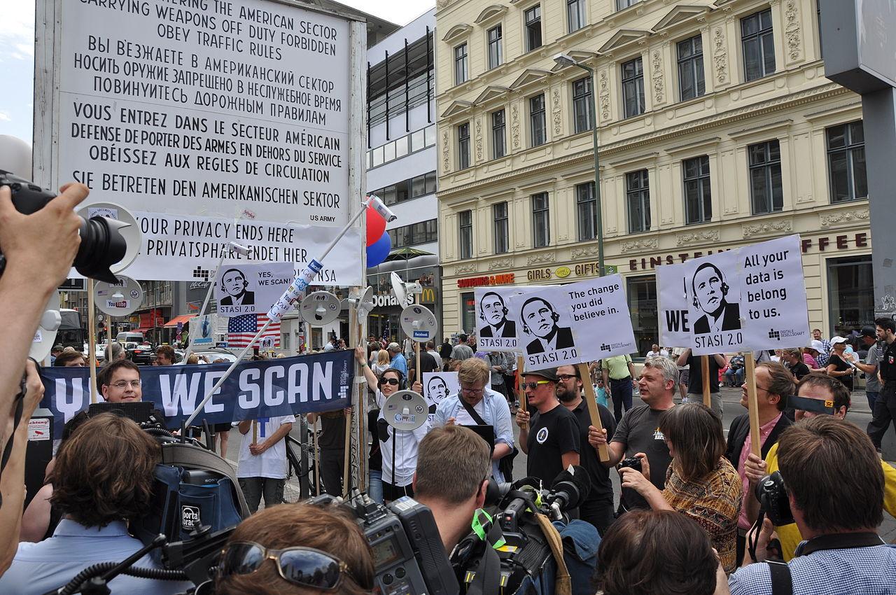 An anti-NSA protest in Berlin in 2013. (photo by Digitale Gesellschaft, via Wikimedia)