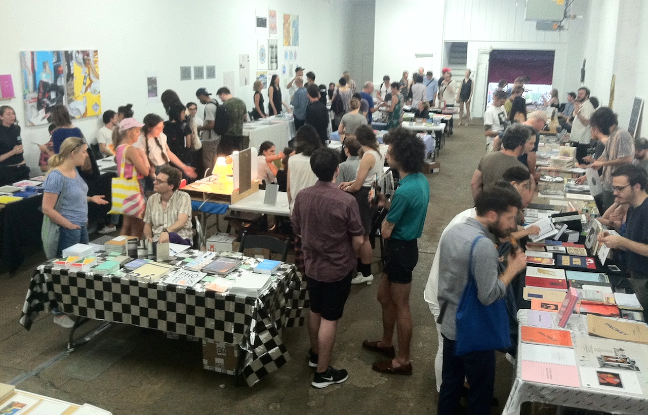 Visitors at the Bushwick Art Book and Zine Fair on opening night (all photos by the author for Hyperallergic)