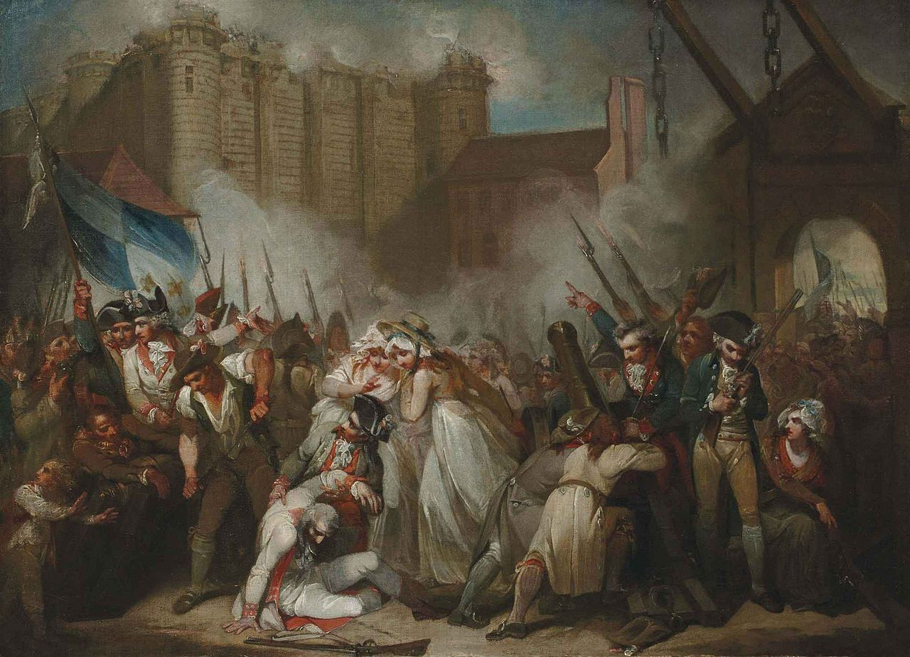 """Henry Singleton, """"The Storming of the Bastille"""" (nd), oil on canvas (via Wikimedia)"""