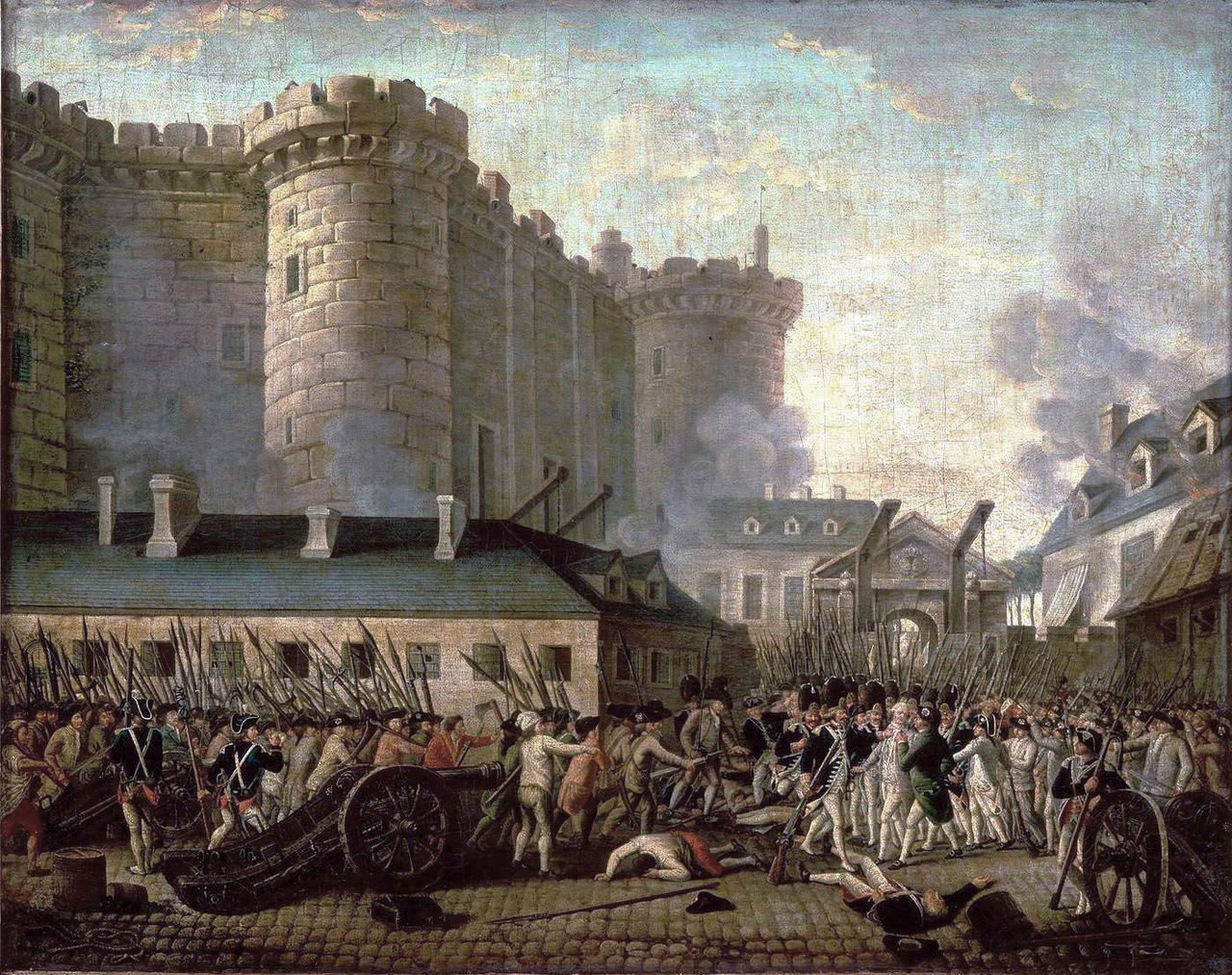 """Anonymous, """"Storming of the Bastille and the arrest of the Governor M. de Launay"""" (nd), oil on canvas (via Museum of the History of France)"""