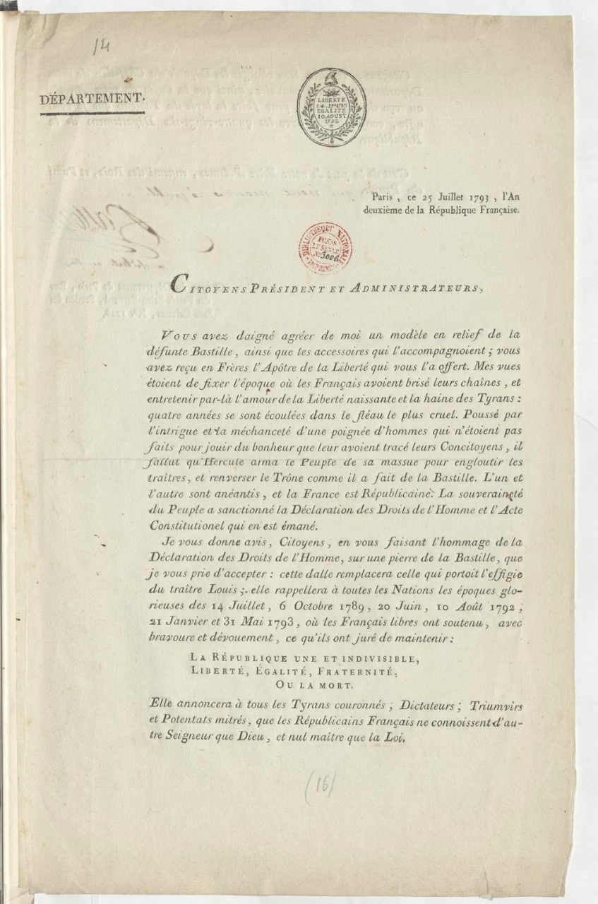 Letter signed by Palloy to recipients of the Bastille models (July 25, 1793) (via Gallica)