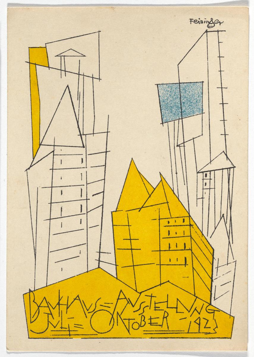 """Lyonel Feininger, """"Bauhaus Ausstellung Weimar Juli–Sept, 1923, Karte 1"""" (1923), lithograph, 5 7/8 × 3 15/16 inches"""