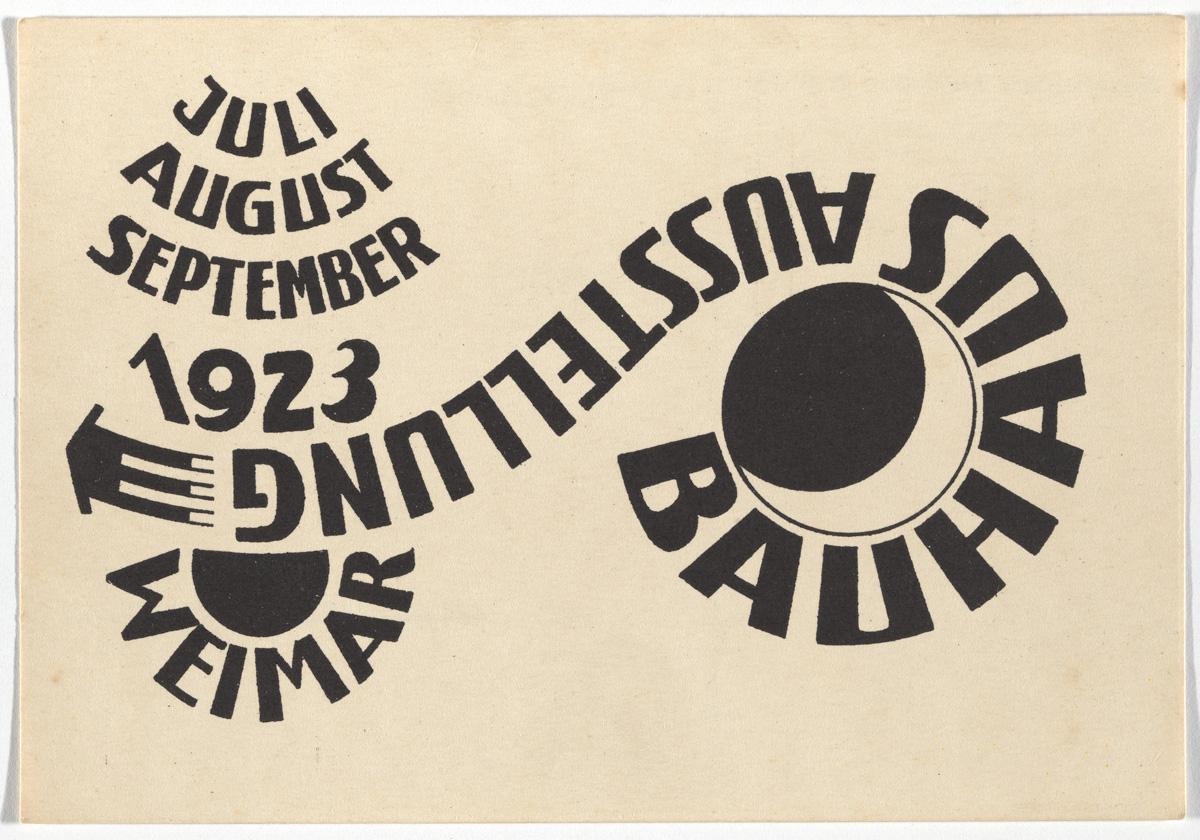 """Ludwig Hirschfeld-Mack, """"Bauhaus Ausstellung Weimar Juli–Sept, 1923, Karte 16"""" (1923), lithograph, 3 15/16 x 5 7/8 inches"""