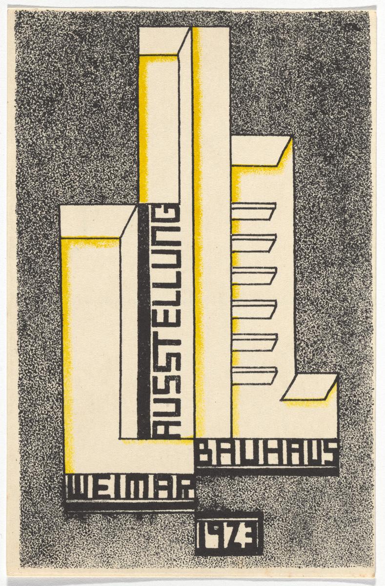 """Farkas Molnar, """"Bauhaus Ausstellung Weimar Juli–Sept, 1923, Karte 17"""" (1923), lithograph, 5 7/8 × 3 15/16 inches"""