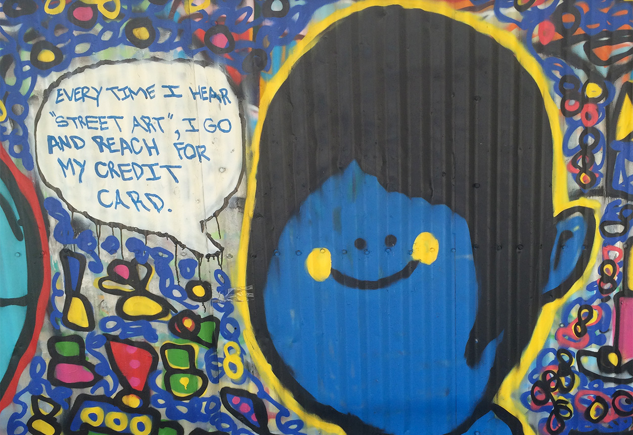 Detail of a mural at the Welling Court Mural Project.