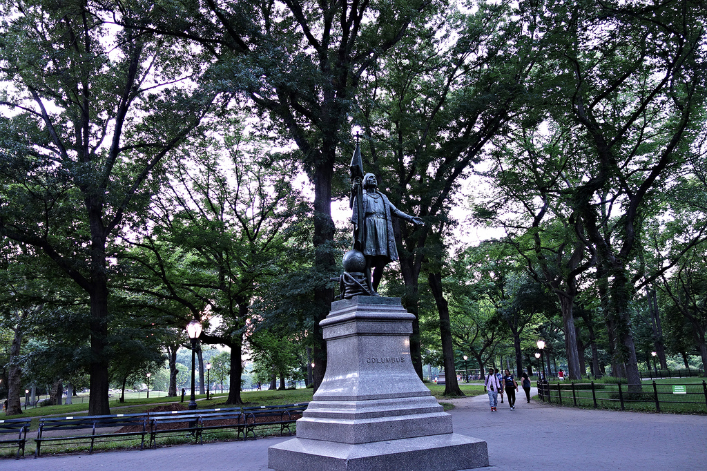 Statue of Columbus in Central Park (all photos by the author for Hyperallergic)