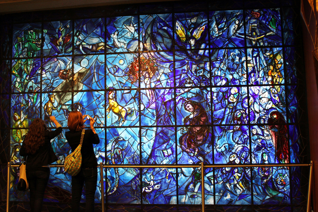 Stained glass window by Marc Chagall at the United Nations (photo by Mitchell_Center, via Flickr)