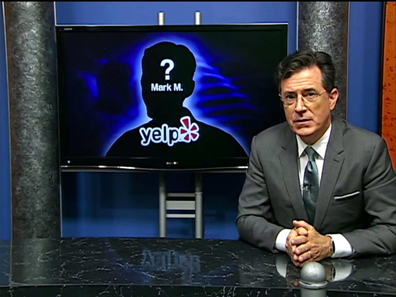 Stephen Colbert addressing a local Yelp review controversy on 'Only In Monroe'