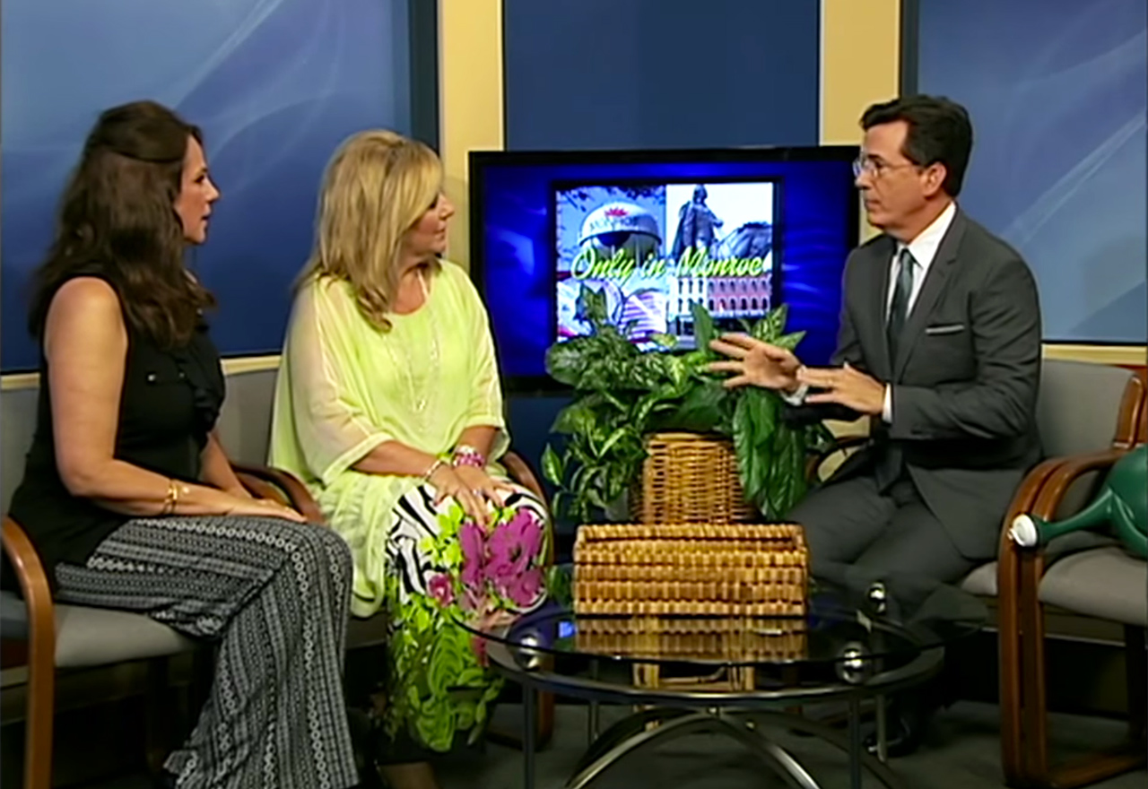 Stephen Colbert interviewing 'Only In Monroe' co-hosts Michelle Bowman and Kaye Lani Rae Rafko Wilson