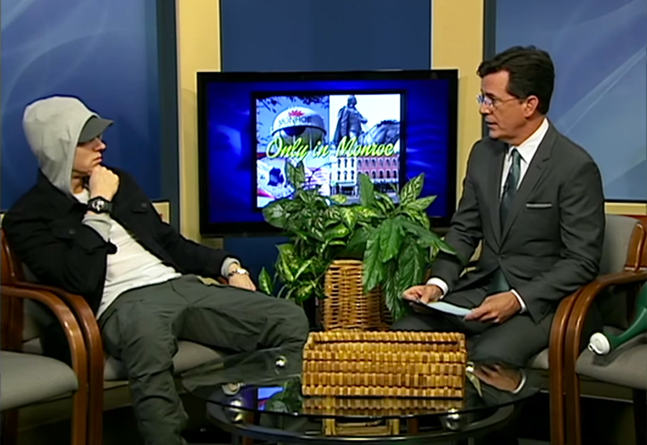 Stephen Colbert interviewing Eminem on 'Only In Monroe'