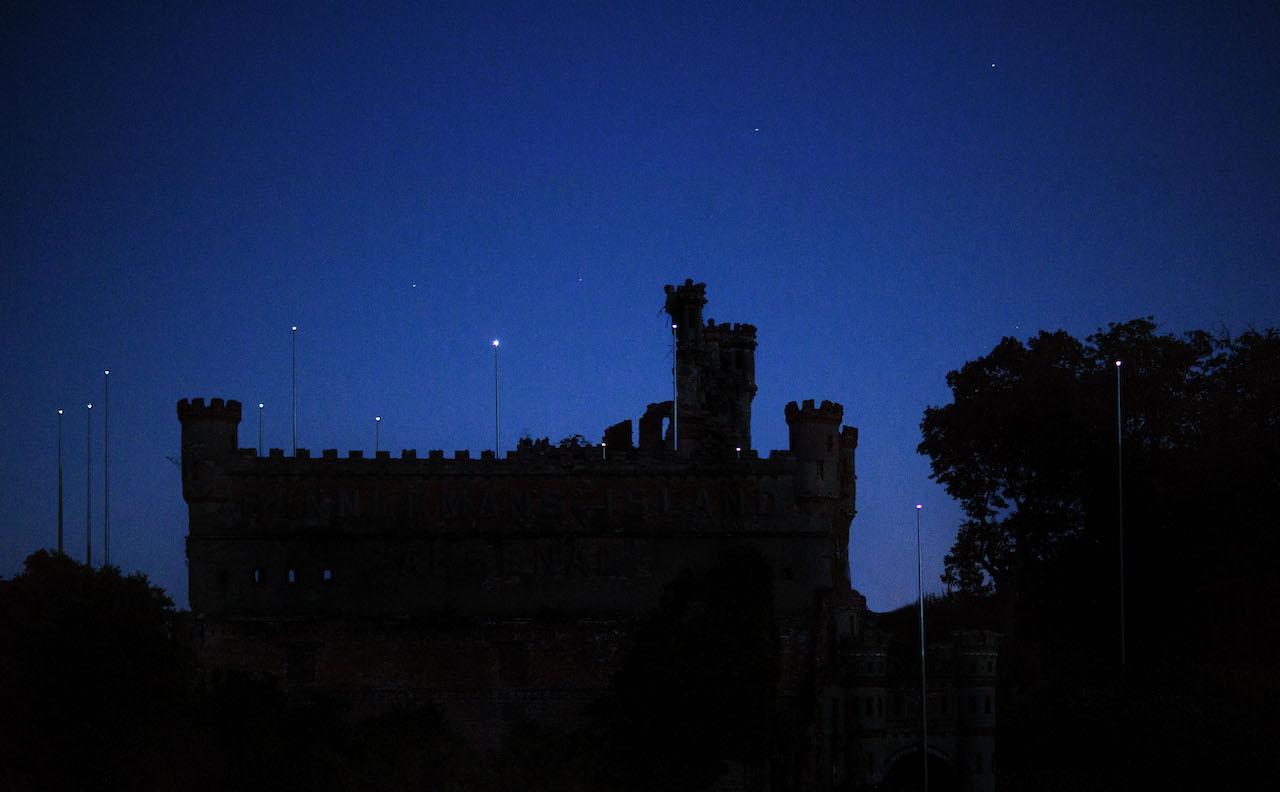 'Constellation' with the night sky (photo by John Huba)