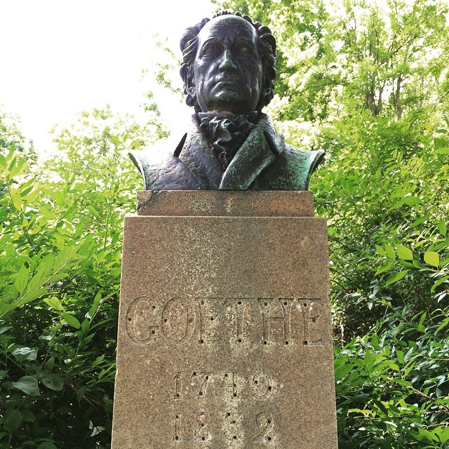 The bronze bust of Goethe that recently went missing in Rochester. (photo by @liza_bryte_eyes/Instagram)