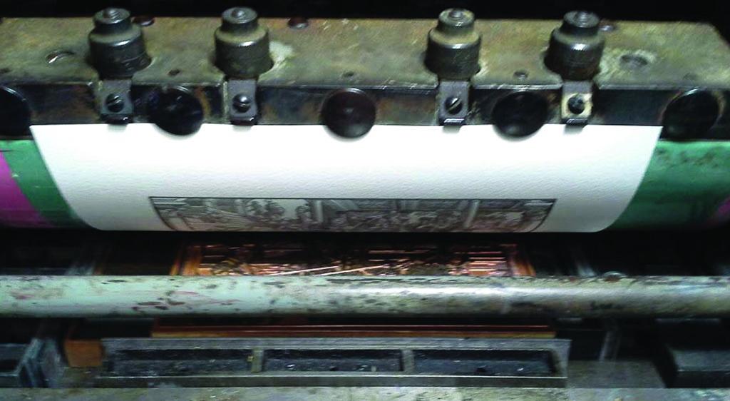 Print being pulled from a Vandercook press
