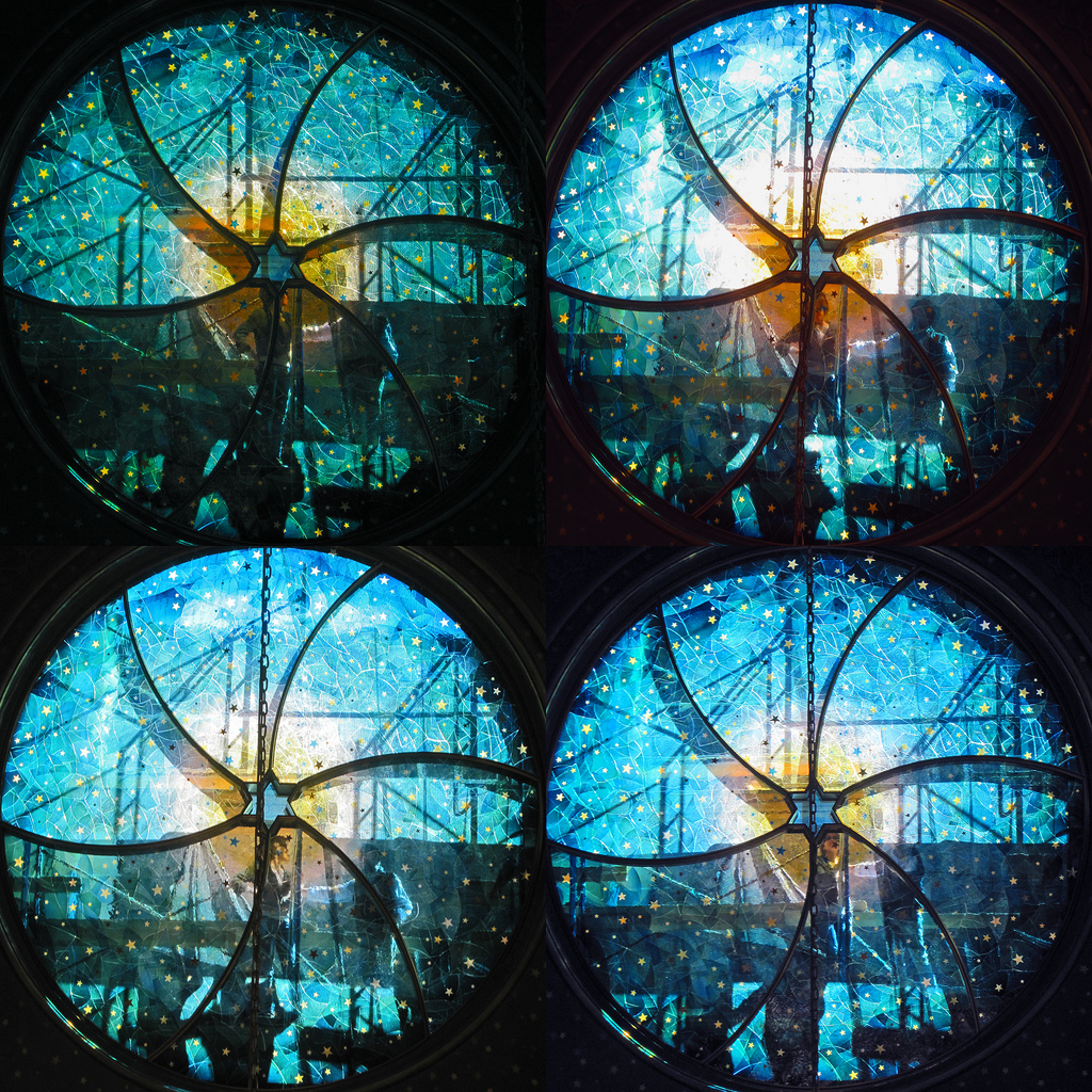 Different views of the stained glass window created by Kiki Smith and Deborah Gans at the Eldridge Street Synagogue (photo by H.L.I.T., via Flickr)