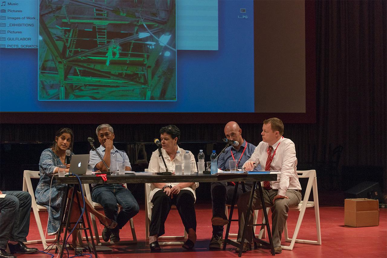 The Gulf Labor Coalition panel at the 2015 Venice Biennale on July 29 (all photos by Andrea Avezzù, courtesy la Biennale di Venezia)