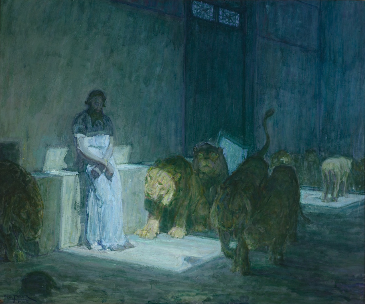 """Henry Ossawa Tanner, """"Daniel in the Lions' Den"""" (1907–18) (Mr. and Mrs. William Preston Harrison Collection, Los Angeles County Museum of Art, via Wikimedia Commons)"""