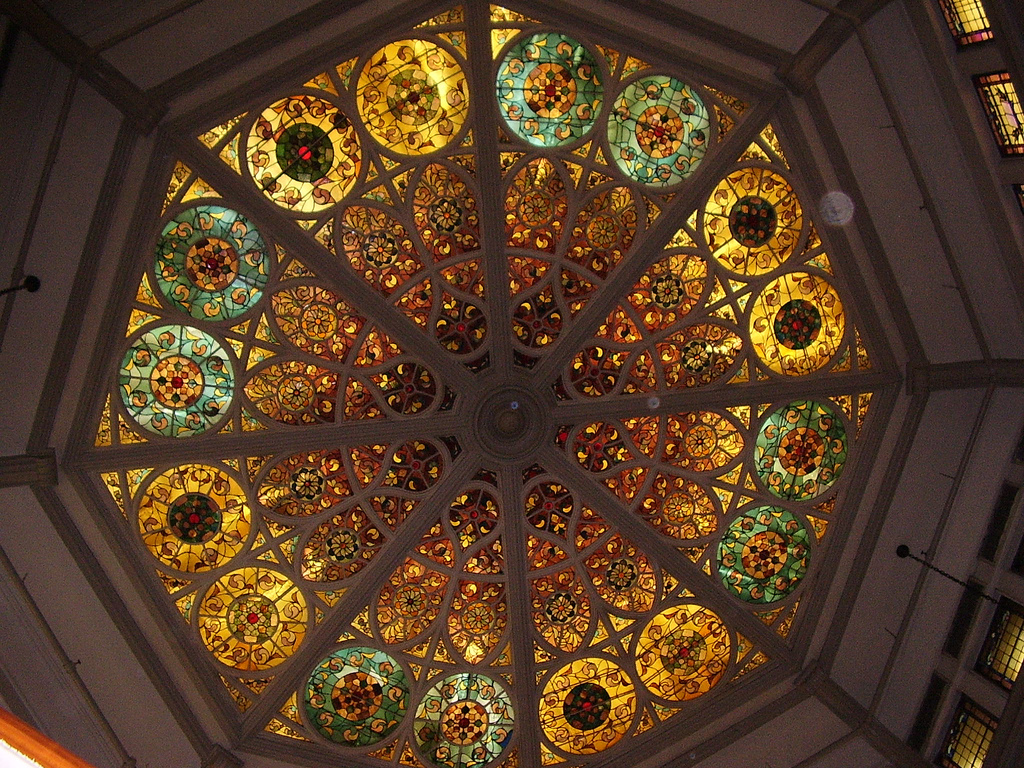 Stained glass ceiling in John's Pizzeria (photo by Mars Infomage, via Flickr)