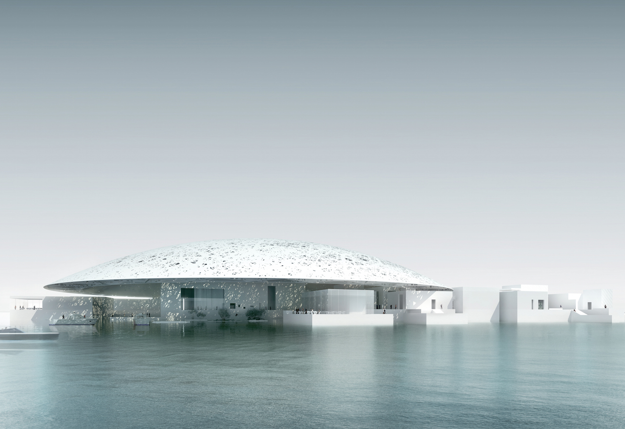 Rendering of the completed Louvre Abu Dhabi (photo via Gabriel Jorby/Flickr)