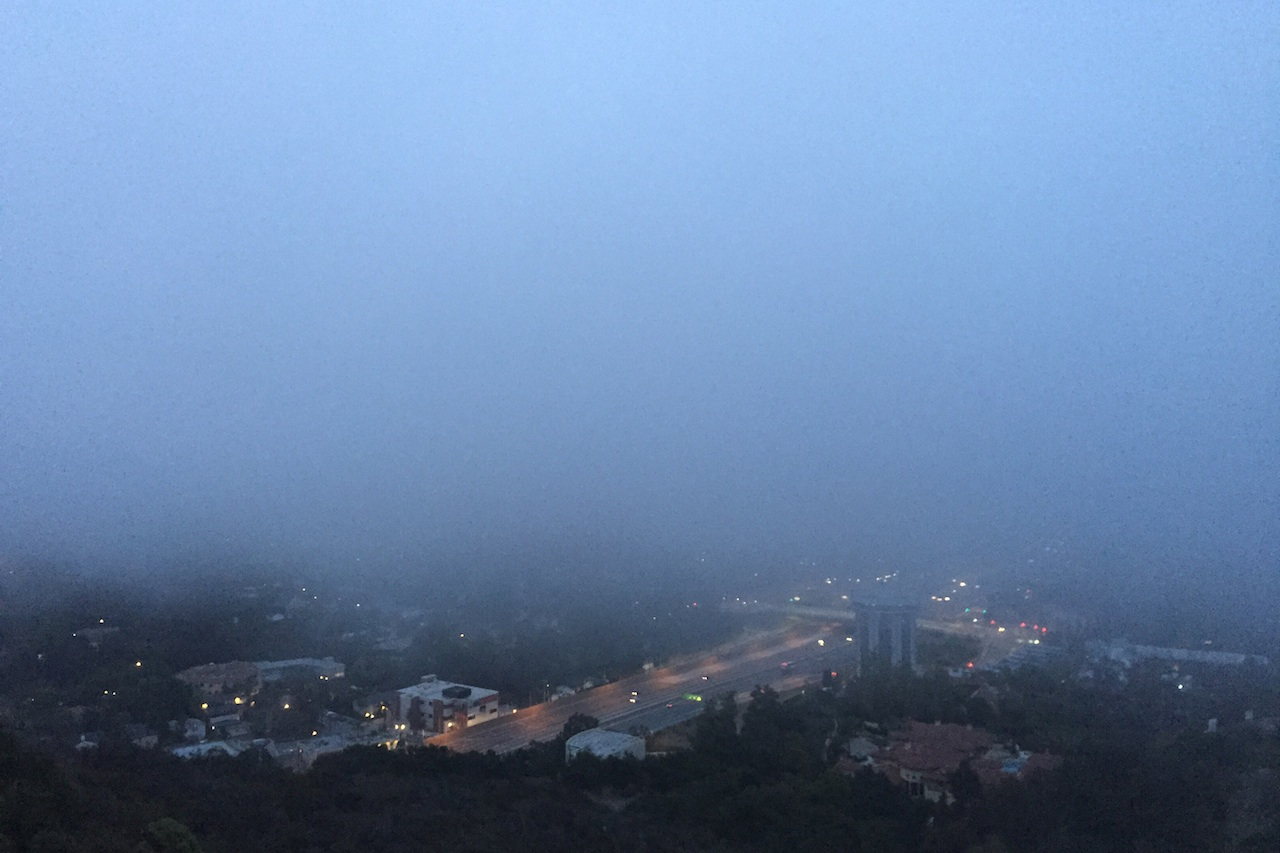 The view from the Getty Center before sunrise (all photos by the author for Hyperallergic unless otherwise noted)