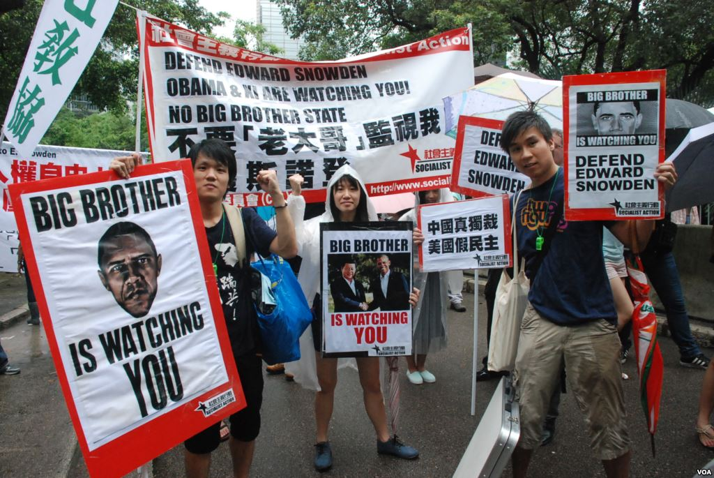 Pro-Snowden, anti-surveillance demonstrators at a 2013 rally in Honk Kong. (photo by VOA, via Wikimedia)