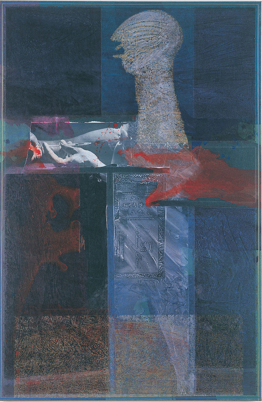 "Rodríguez Calero, ""Cruz de Loisaida"" (1994), acrollage painting, 64 x 42 inches"