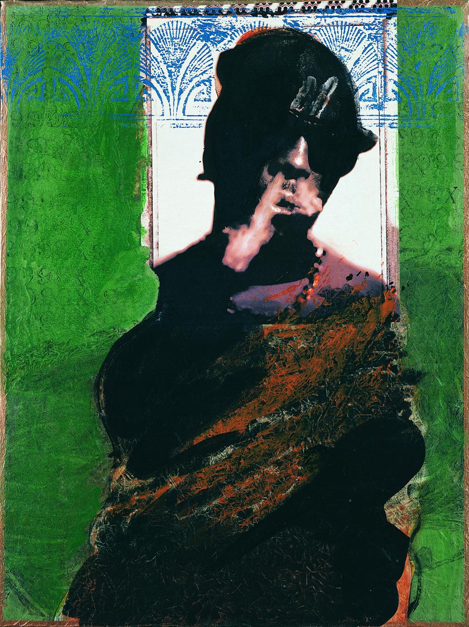 "Rodríguez Calero, ""Nañigo Soul"" (1998), acrollage painting, 24 x 18 inches"