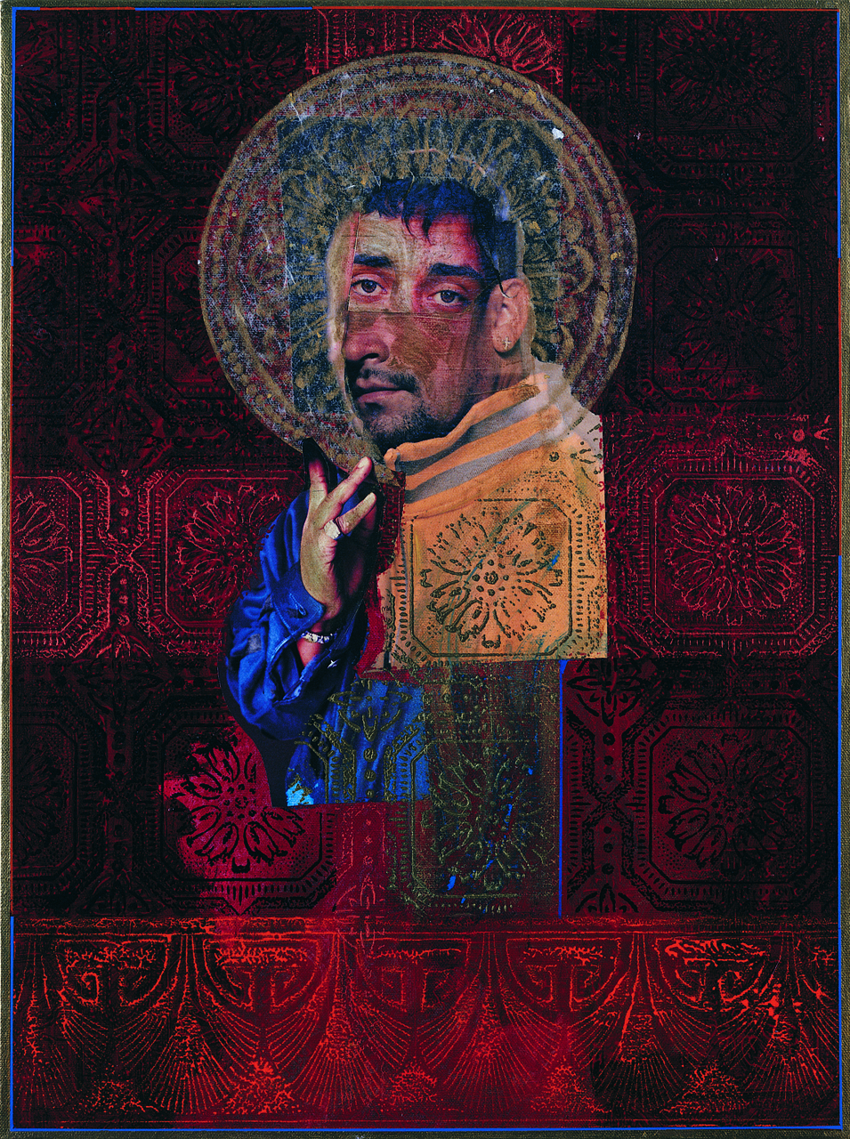 """Rodríguez Calero, """"Saint Anthony"""" (1999), acrollage painting, 24 x 18 inches"""
