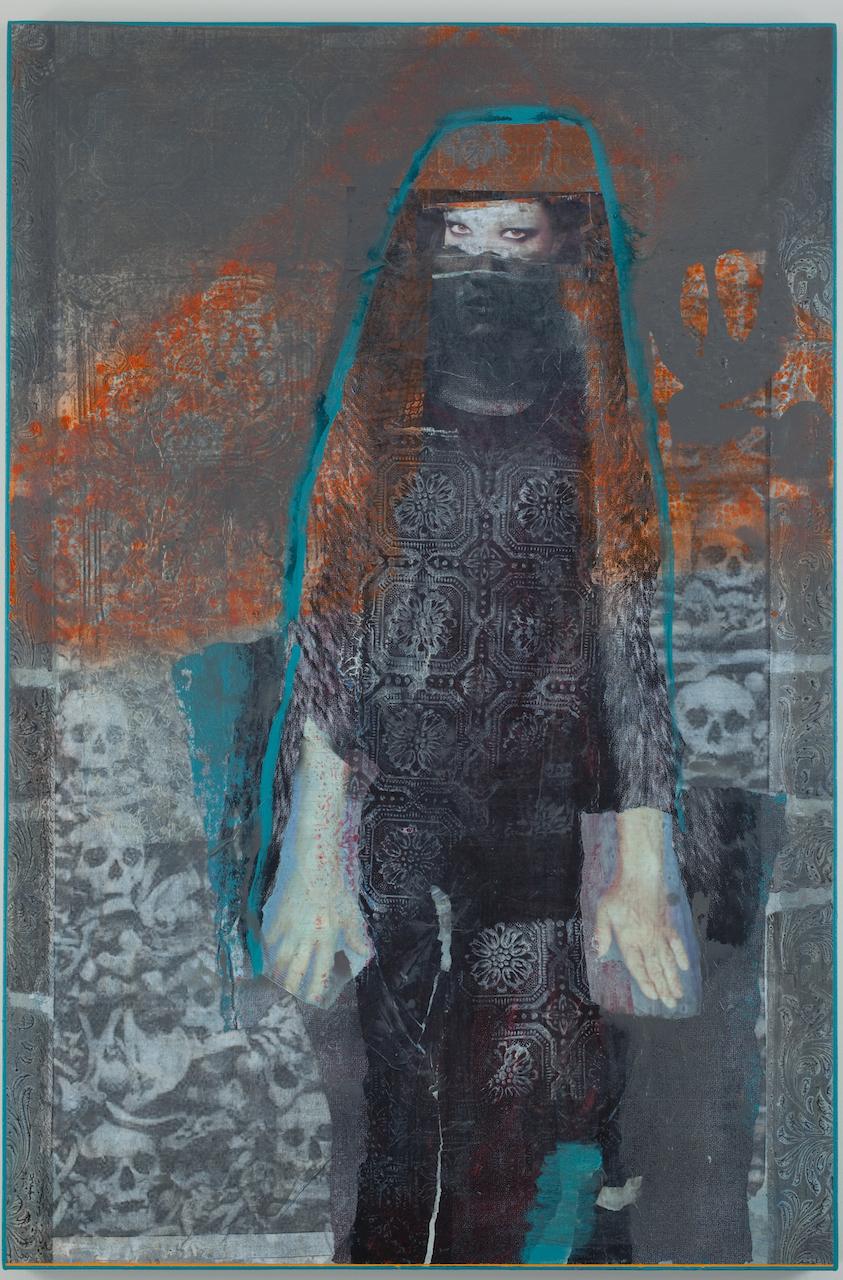 "Rodríguez Calero, ""Soñador entre mundos"" (2012), acrollage painting, 54 x 36 inches"