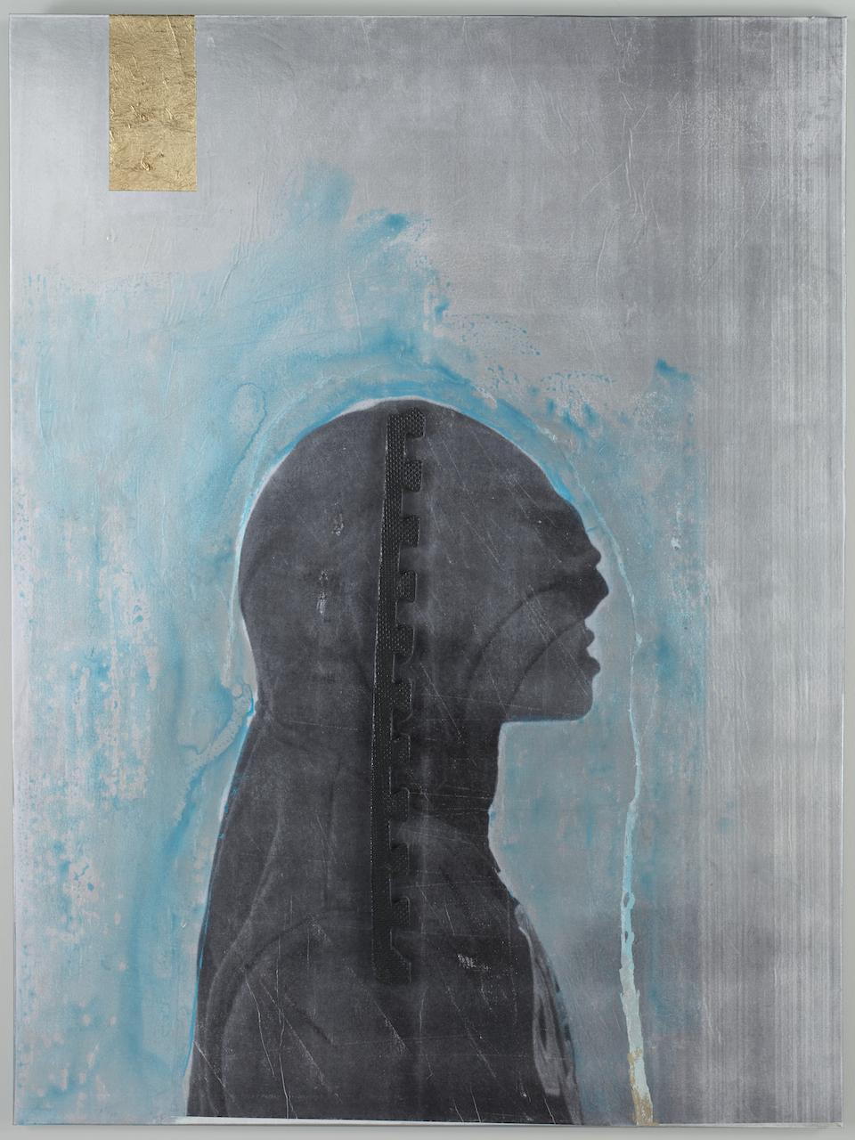 """Rodríguez Calero, """"UrbanHood I"""" (2014), fotacrolé mixed media on canvas"""