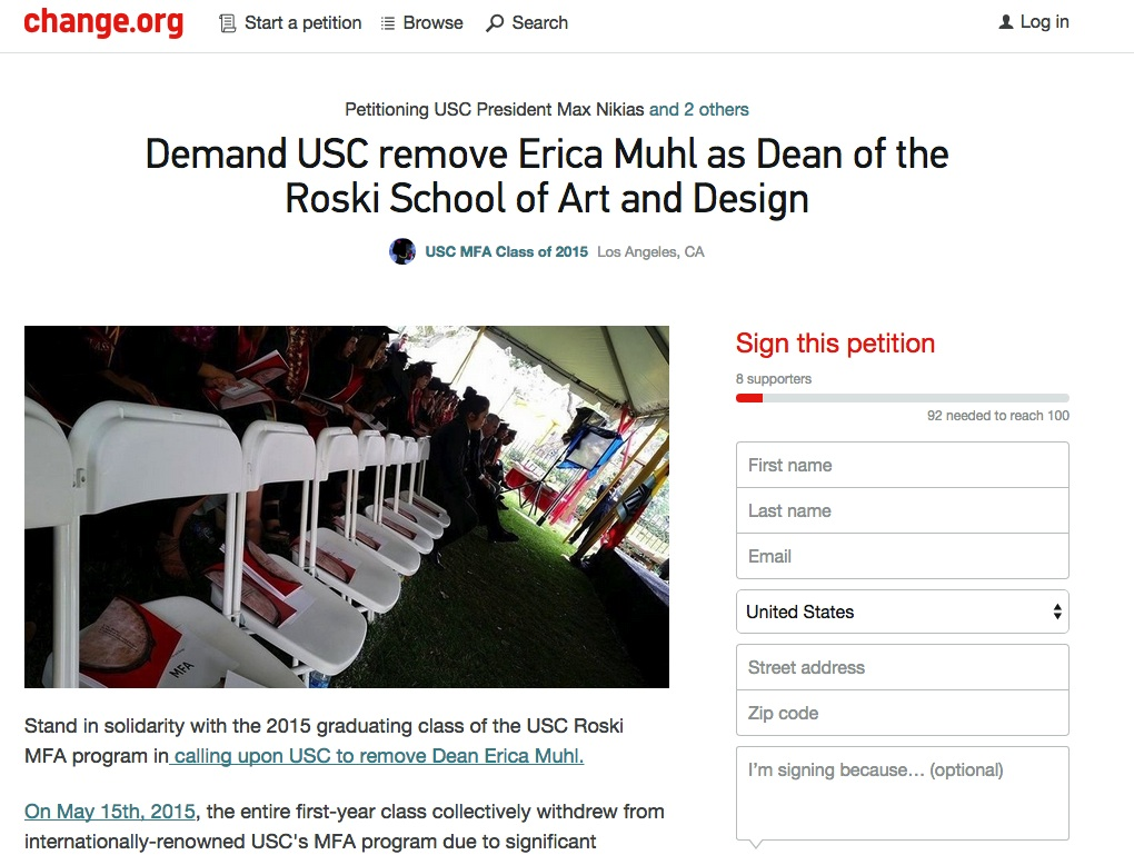 Petition to Remove Dean Muhl (via change.org)