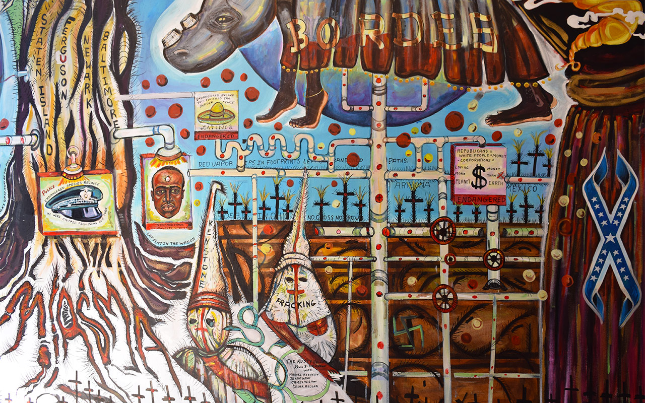 "Detail of Kevin Sampson, ""Fruit of the Poisonus Tree"" (2015) at Andrew Edlin Gallery"