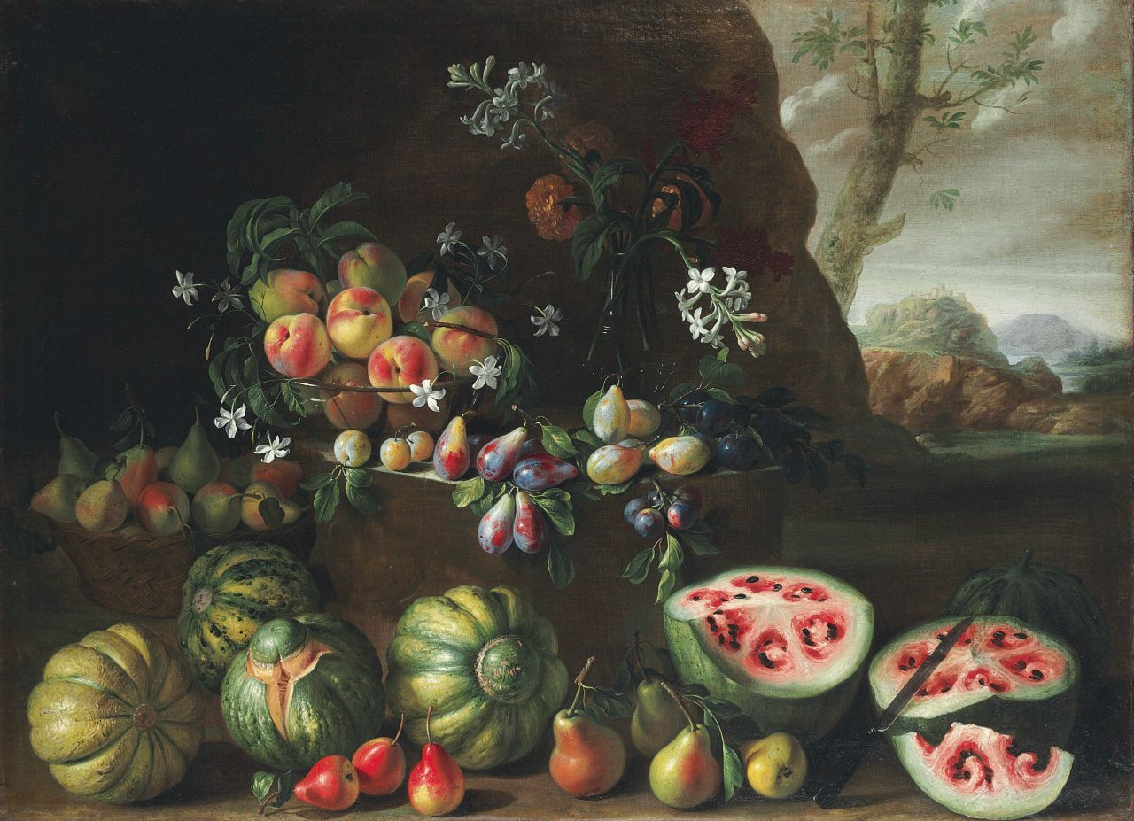 """Giovanni Stanchi, """"Watermelons, peaches, pears and other fruit in a landscape"""" (1645-72), oil on canvas (courtesy Christie's)"""