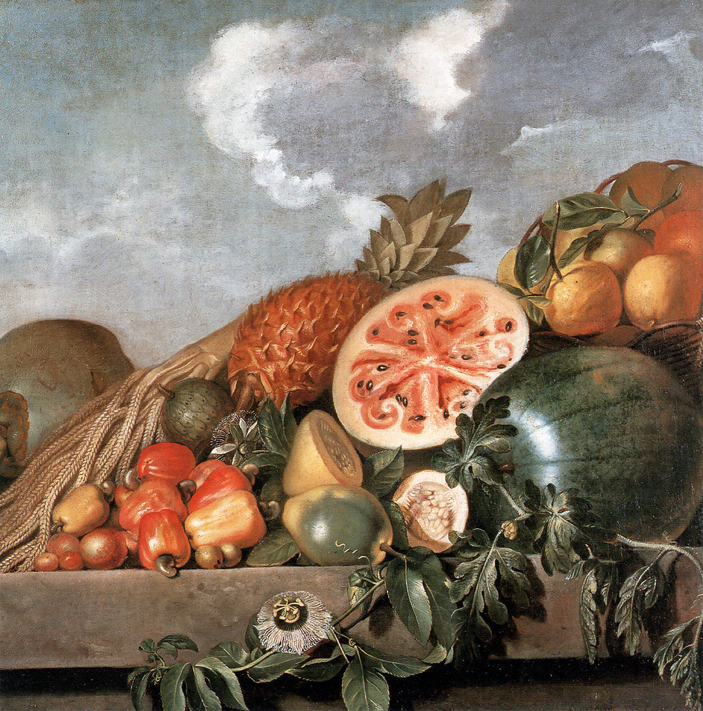"""Albert Eckhout, """"Pineapple, watermelons and other fruits (Brazilian fruits)"""" (17th century), oil on canvas (via National Museum of Denmark)"""