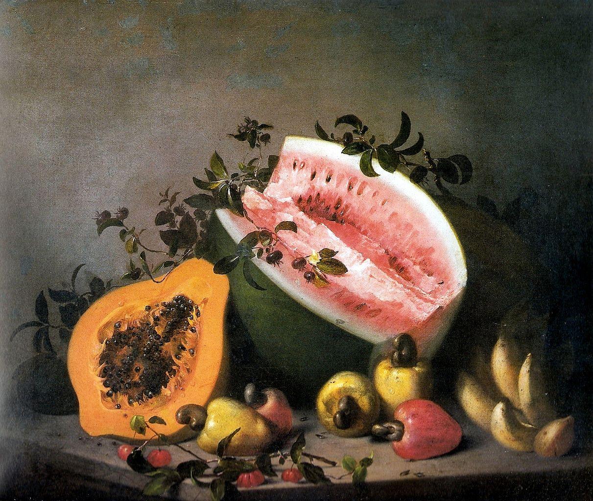 """Agostinho José da Mota, """"Papaya and watermelon"""" (1860), oil on canvas (via Museu Nacional de Belas Artes)"""