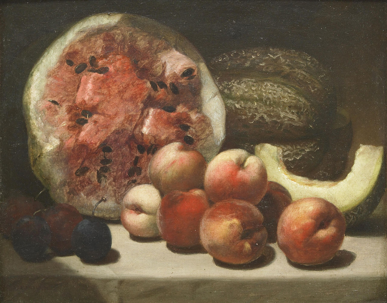 """Alvan Fisher, """"A Still Life with Watermelons and Peaches"""" (19th century), oil on canvas mounted on masonite (via Bonhams)"""