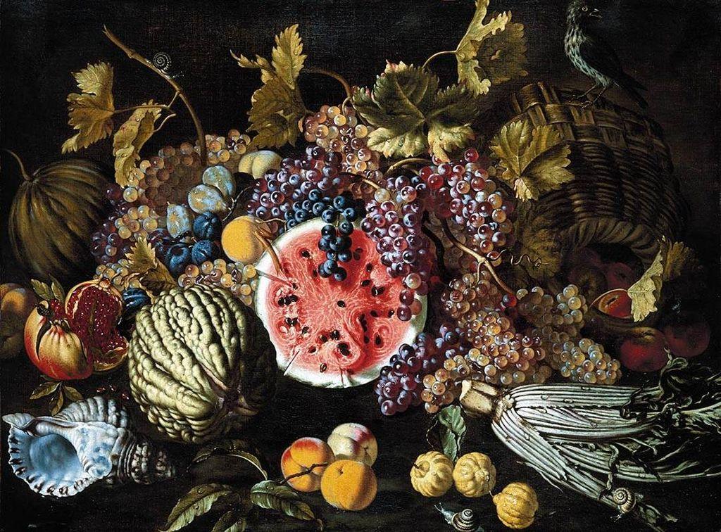 "Giovan Battista Ruoppolo, ""Still-Life of Fruit"" (17th century), oil on canvas (via Wikimedia)"