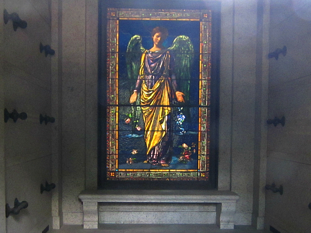 Stained glass by John La Farge in Woodlawn Cemetery, The Bronx (photo by the author for Hyperallergic)