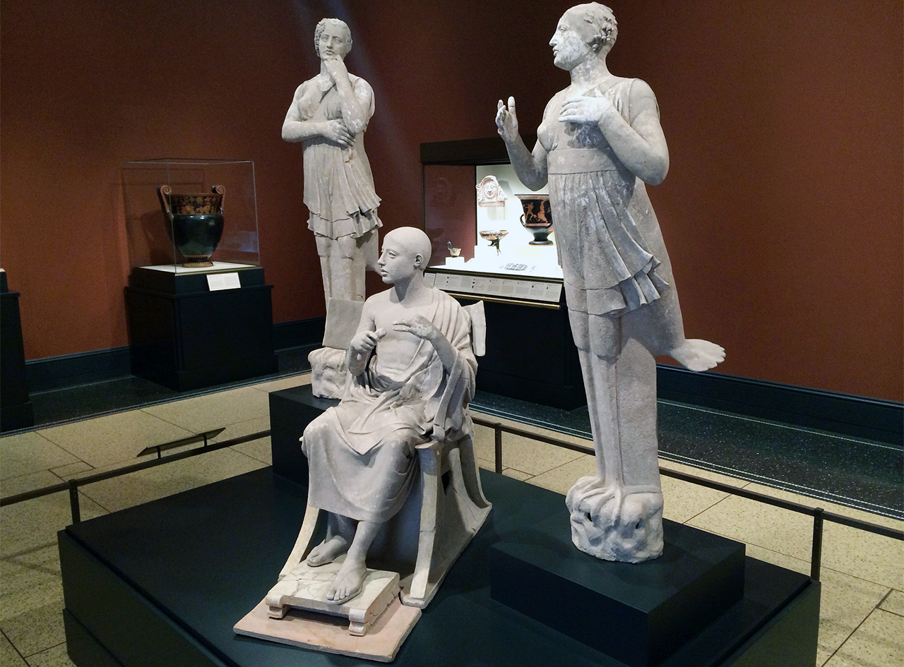 A classical sculpture group of Poet as Orpheus with Two Sirens at the Getty Villa in Malibu, CA. The Greek terracotta and pigment sculptures date from the 4th-century BCE and come from Southern Italy. (photo by Hrag Vartanian/Hyperallergic)
