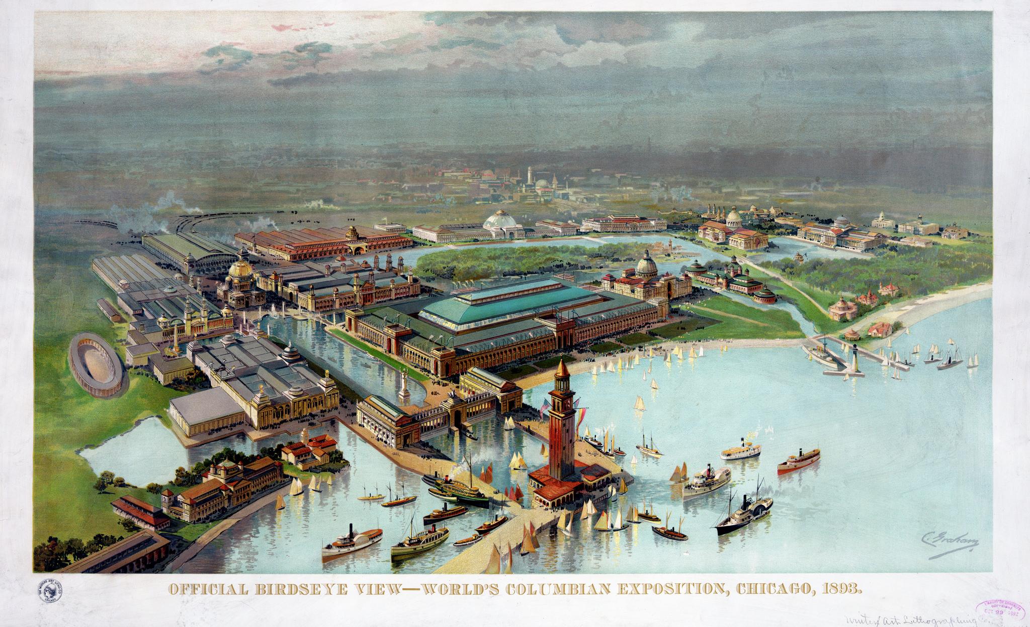 Bird's-eye-view of the 1893 World's Fair Exposition (image via Stuart Rankin / Flickr)