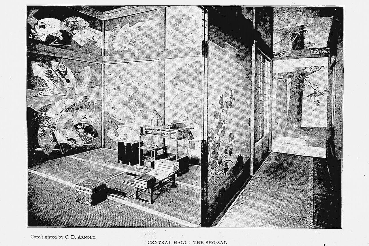 Study Room in the Ho-o-Den, from Okakura Kakuzō's catalog (photo digitized by National Diet Library)