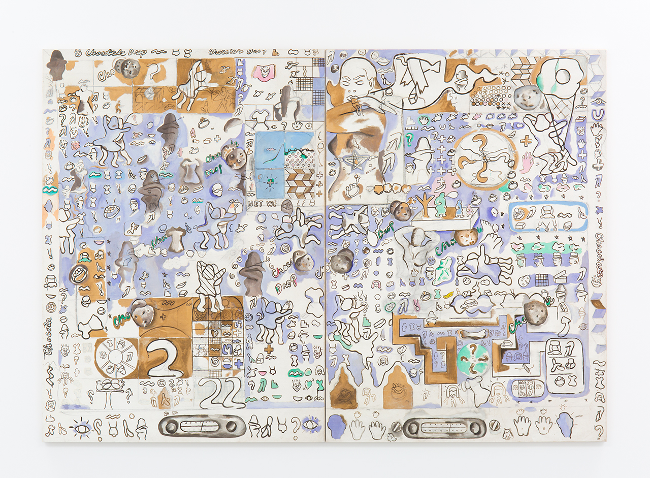 """Suellen Rocca, """"Chocolate Chip Cookie"""" (1965), oil on canvas, two panels, each: 84 x 60 inches (213 x 152 cm), overall: 84 x 120 inches (13 x 304 cm) (© Suellen Rocca, image courtesy Matthew Marks Gallery)"""