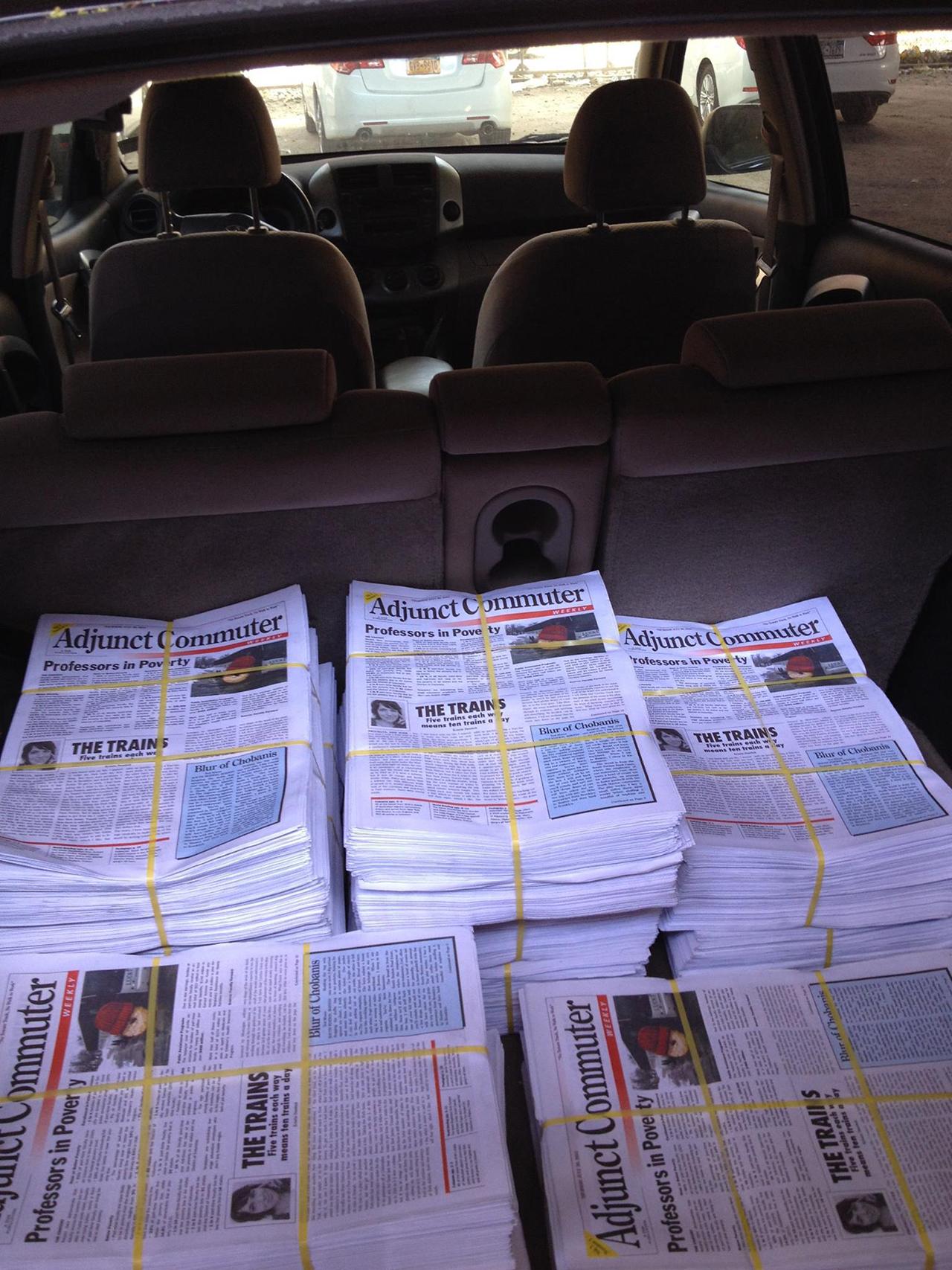 Copies of 'Adjunct Commuter Weekly' (image via Facebook) (click to enlarge)